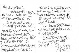 Jim Hall briefkaart febr 2006